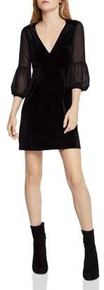 BCBGeneration Chiffon-Sleeve Velvet Dress