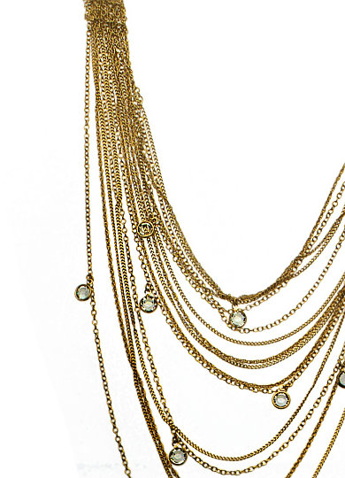 ABS Long Multi Strand Gold Necklace