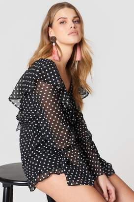 Endless Rose Polka Dot Romper Black/Off White