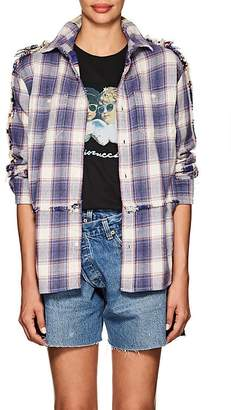"R 13 Women's ""Mended"" Plaid Cotton Blouse"