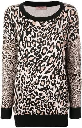 Twin-Set leopard fine knit sweater