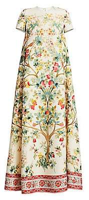 Oscar de la Renta Women's Tree of Life Wool Gown