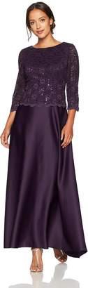 Alex Evenings Women's Petite Long Mock Dress with Full Circle Satin Skirt (Regular Sizes)
