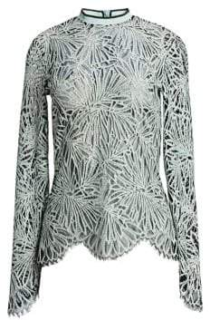 Proenza Schouler Printed Lace Mockneck Top
