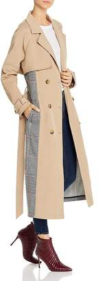 Glamorous Plaid-Panel Trench Coat - 100% Exclusive