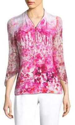 Elie Tahari Benny Wool Floral Blouse