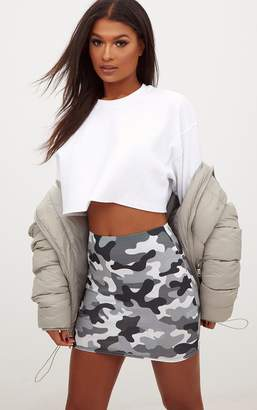 PrettyLittleThing Grey Camo Print Mini Skirt