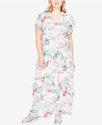 Rachel Roy Trendy Plus Size Flutter-Sleeve Maxi Dress
