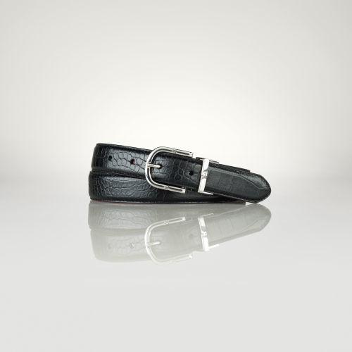 Ralph Lauren Reversible Croc-Leather Belt