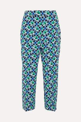 Prada Cropped Printed Silk Crepe De Chine Straight-leg Pants - Blue