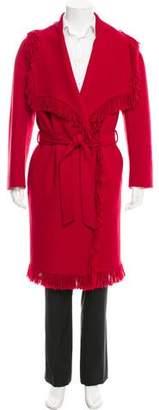 Versace Fringe-Trimmed Wool Coat