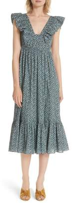 Rebecca Taylor Chinon Floral Cotton Midi Dress