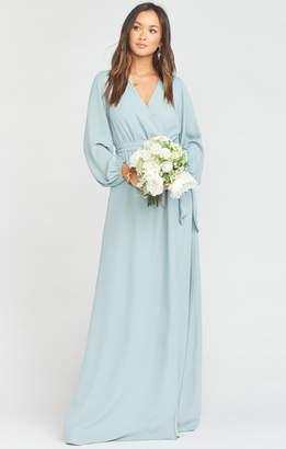 Show Me Your Mumu Lady Long Sleeve Wrap Dress ~ Silver Sage Crisp