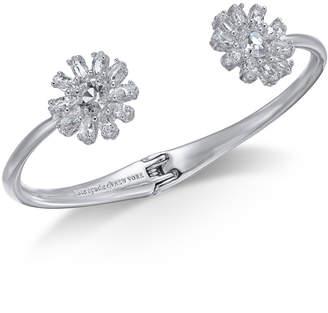 Kate Spade Silver-Tone Crystal Flower Cuff Bracelet