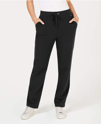 Karen Scott Petite Drawstring Straight-Leg Pants