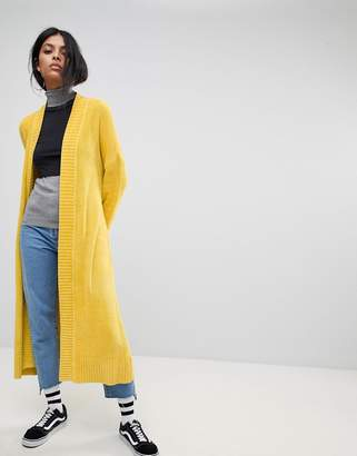Asos Design Cardigan in Maxi Length in Chenille