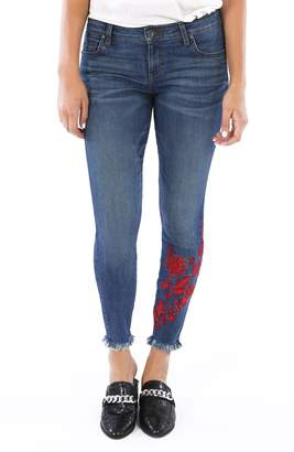KUT from the Kloth Connie Embroidered Ankle Skinny Jeans