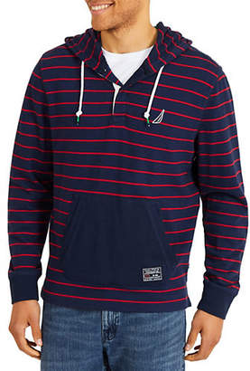 Nautica Yarn-Dyed Placket Front Cotton Hoodie