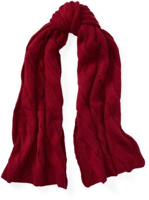 Ralph Lauren Rope Cable-Knit Wool Scarf