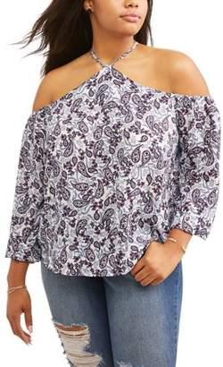 No Comment Women's Plus Size Halter Neck Cold Shoulder Blouse