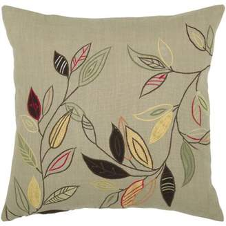 "Rizzy Home Decorative Poly Filled Throw Pillow Floral 18""X18"" Khaki"