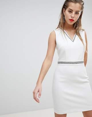 Morgan Embellished Detail Plunge Mini Dress