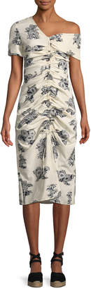 Sea Josephine Ruched Floral-Print Occasion Dress