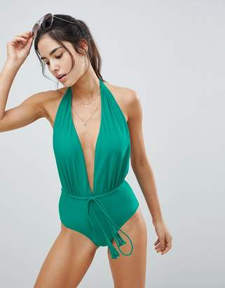 Missguided Halter Tie Waist Swimsuit