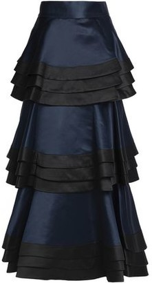 Alice + Olivia Samba Tiered Duchesse Satin Maxi Skirt