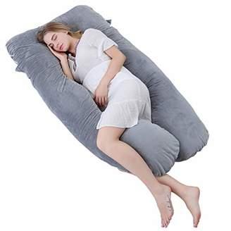 Meiz U Shaped Pregnancy Body Pillow with Zipper Removable Cover (Gray- Velvet)