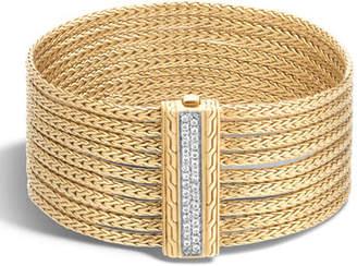 John Hardy Classic Chain 18K Diamond 9-Row Chain Bracelet, Size M