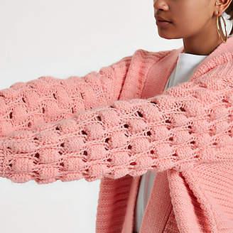 River Island Light pink bobble knit cardigan