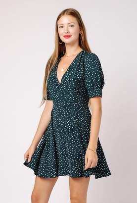 Azalea Polka Dot V Neck Dress