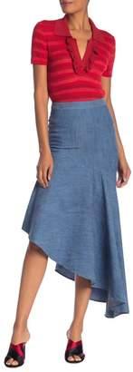 Alice + Olivia Molina Asymmetrical Ruffle Midi Skirt