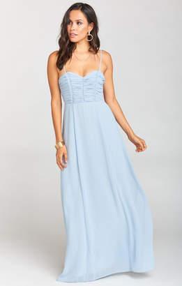Show Me Your Mumu Bonbon Strapless Dress ~ Steel Blue Chiffon