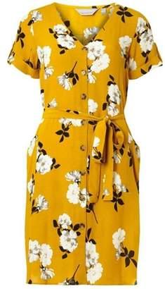Dorothy Perkins Womens Petite Yellow Floral Shirt Dress