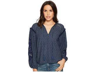 Lucky Brand Cut Out Stripe Peasant Top