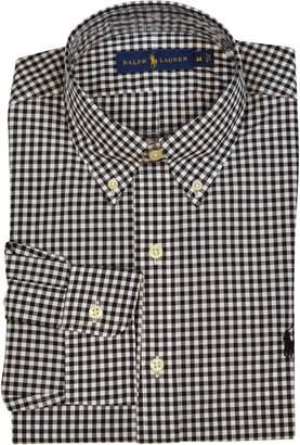 Polo Ralph Lauren Mens Long Sleeve Classic Fit Check Print Dress Shirt - White/Black - S