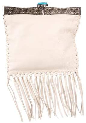Valentino 2016 Metal-Framed Leather Fringe Clutch