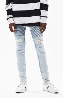 PacSun Stacked Skinny Moto Light Indigo Jeans
