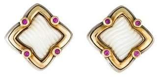 David Yurman Two-Tone Sculpted Mother of Pearl & Ruby Quatrefoil Earrings