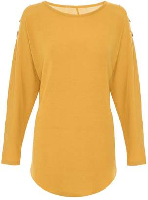 Quiz Mustard Eyelet Light Knit Top