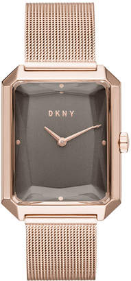 DKNY Women Cityspire Rose Gold-Tone Stainless Steel Mesh Bracelet Watch 27x34mm