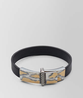 Bottega Veneta NERO LEATHER/OXIDIZED SILVER BRACELET