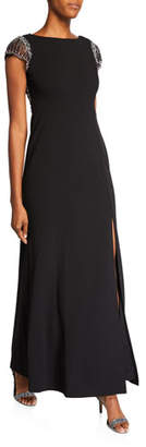 Aidan Mattox Cap-Sleeve Gown with Beaded Low Back