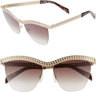 Moschino 57mm Rimless Metal Bar Polarized Sunglasses