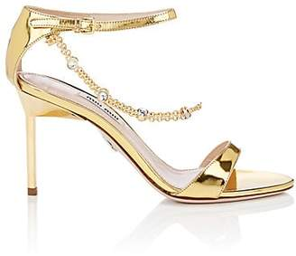 2ba258866 Miu Miu Women s Embellished Patent Leather Ankle-Strap Sandals - Gold