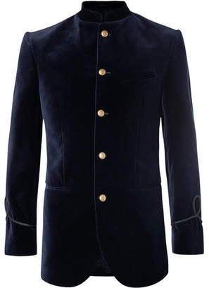 Favourbrook Midnight-Blue Slim-Fit Mandarin-Collar Cotton-Velvet Tuxedo Jacket
