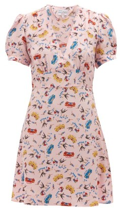 HVN Paula Car Print Silk Mini Dress - Womens - Light Pink