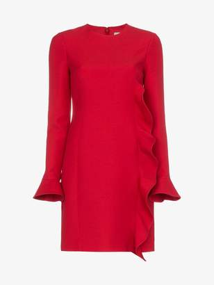 Valentino Red wool dress with ruffle